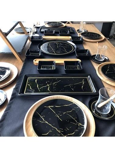 ROSSEV Kahvaltı Takımı Siyah Mermer 46 Parça 6 Kişilik Renkli